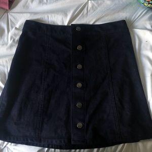 Navy Blue Express button up suede skirt